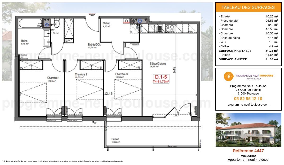 Plan pour un Appartement neuf de  81.75m² à Aussonne