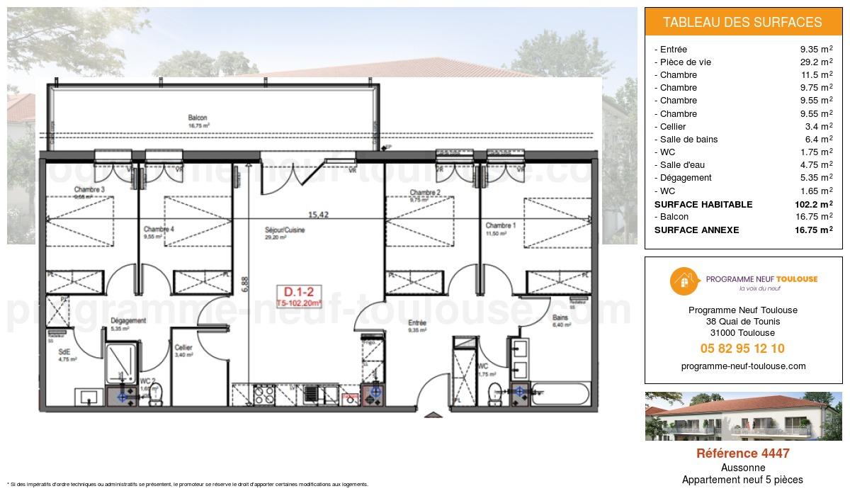 Plan pour un Appartement neuf de  102.2m² à Aussonne