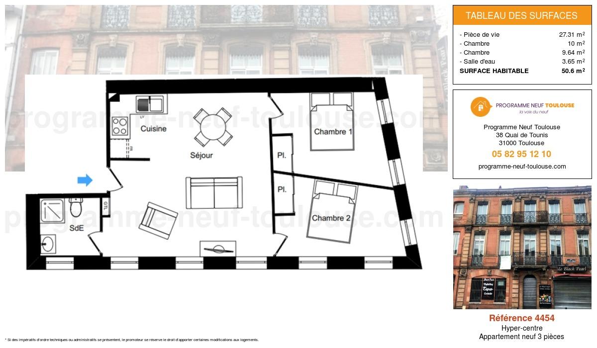 Plan pour un Appartement neuf de  50.6m² à Hyper-centre