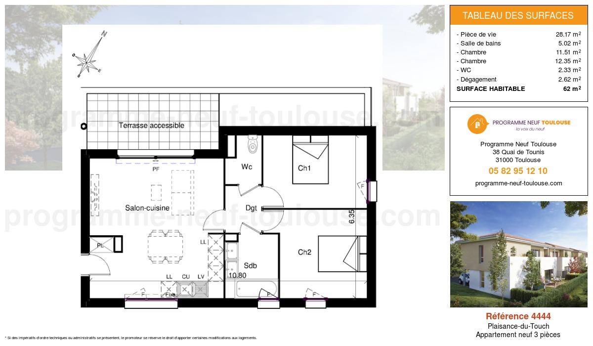 Plan pour un Appartement neuf de  62m² à Plaisance-du-Touch