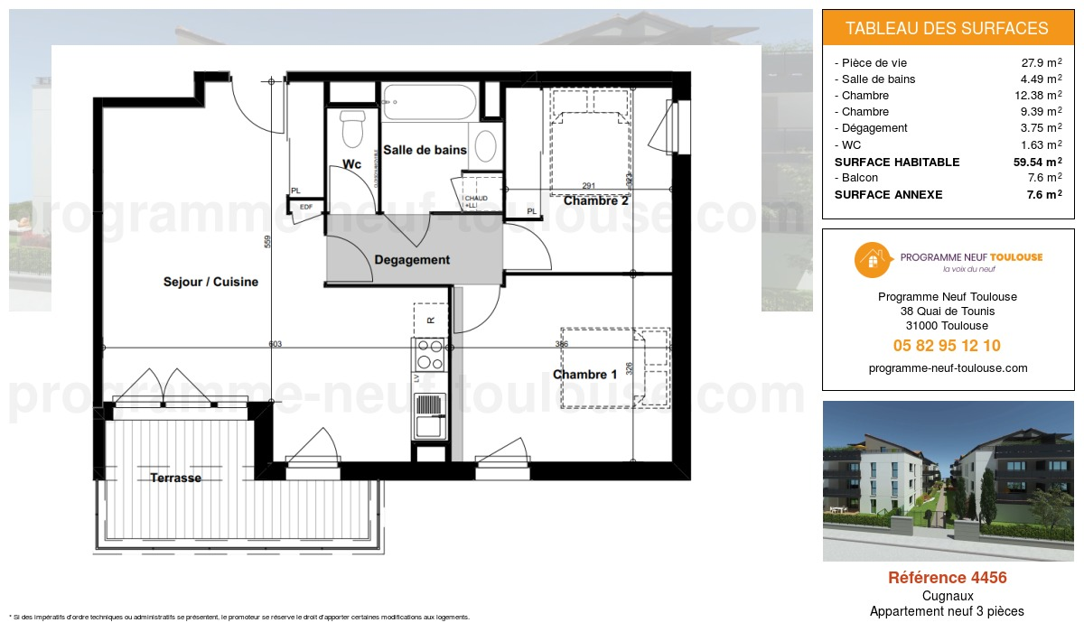 Plan pour un Appartement neuf de  59.54m² à Cugnaux