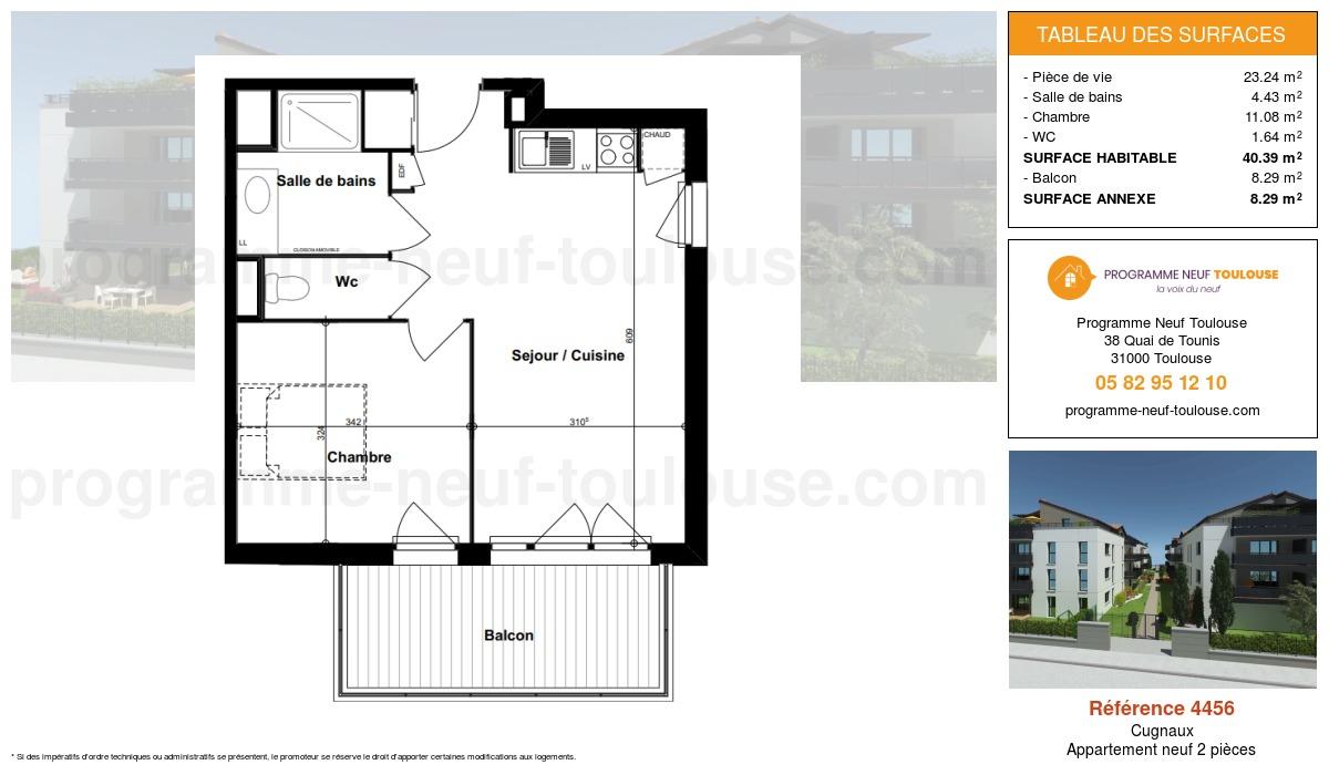 Plan pour un Appartement neuf de  40.39m² à Cugnaux