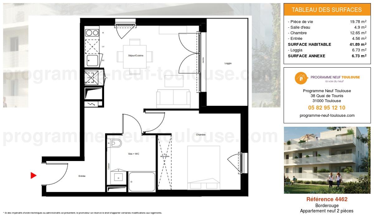 Plan pour un Appartement neuf de  41.89m² à Borderouge