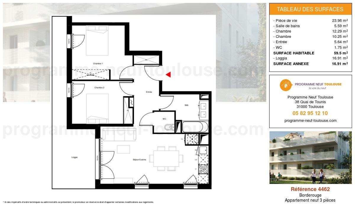 Plan pour un Appartement neuf de  59.5m² à Borderouge