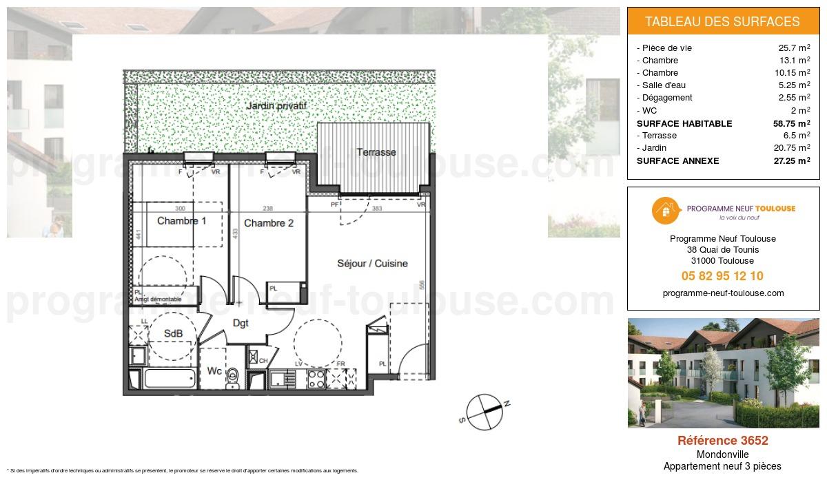Plan pour un Appartement neuf de  58.75m² à Mondonville