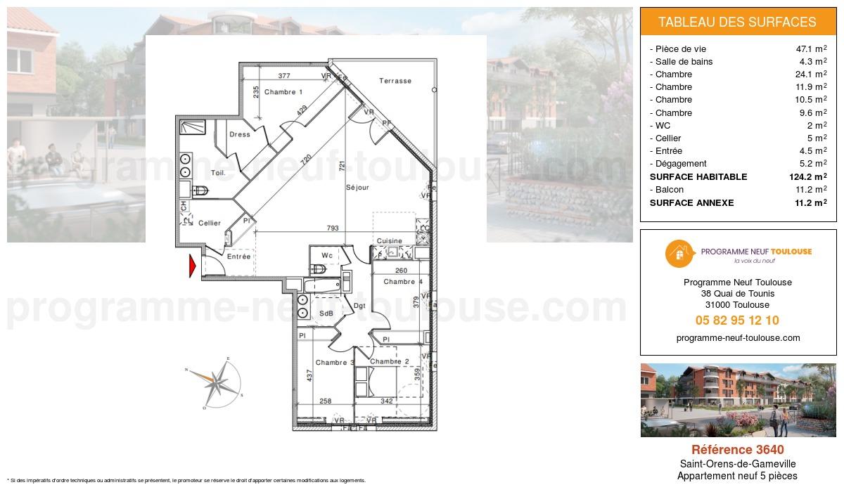 Plan pour un Appartement neuf de  124.2m² à Saint-Orens-de-Gameville