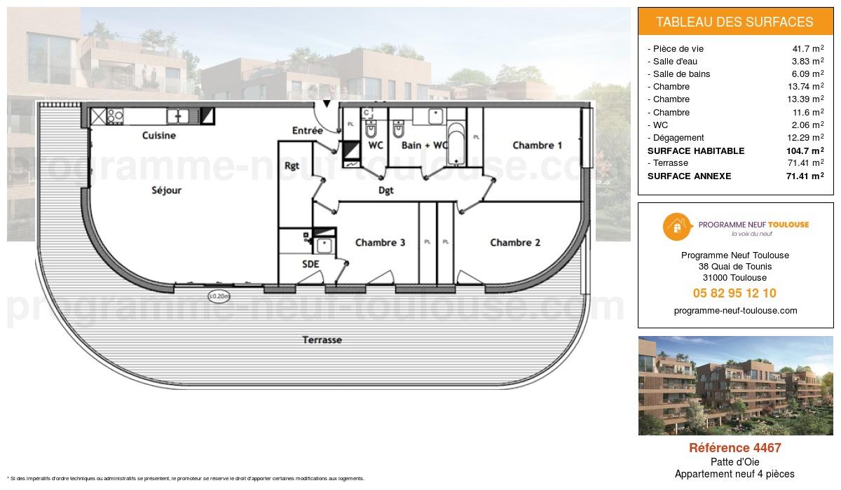 Plan pour un Appartement neuf de  104.7m² à Patte d'Oie