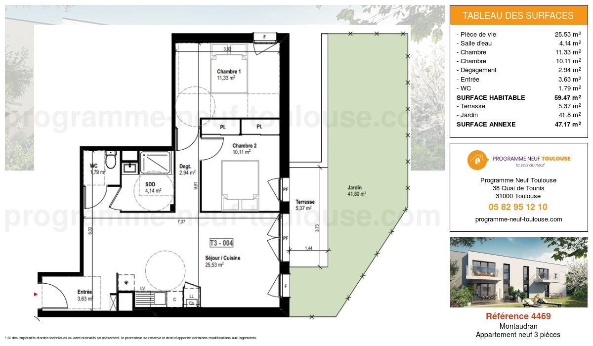 Plan pour un Appartement neuf de  59.47m² à Montaudran
