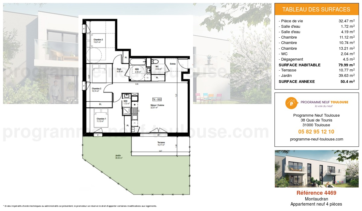 Plan pour un Appartement neuf de  79.99m² à Montaudran