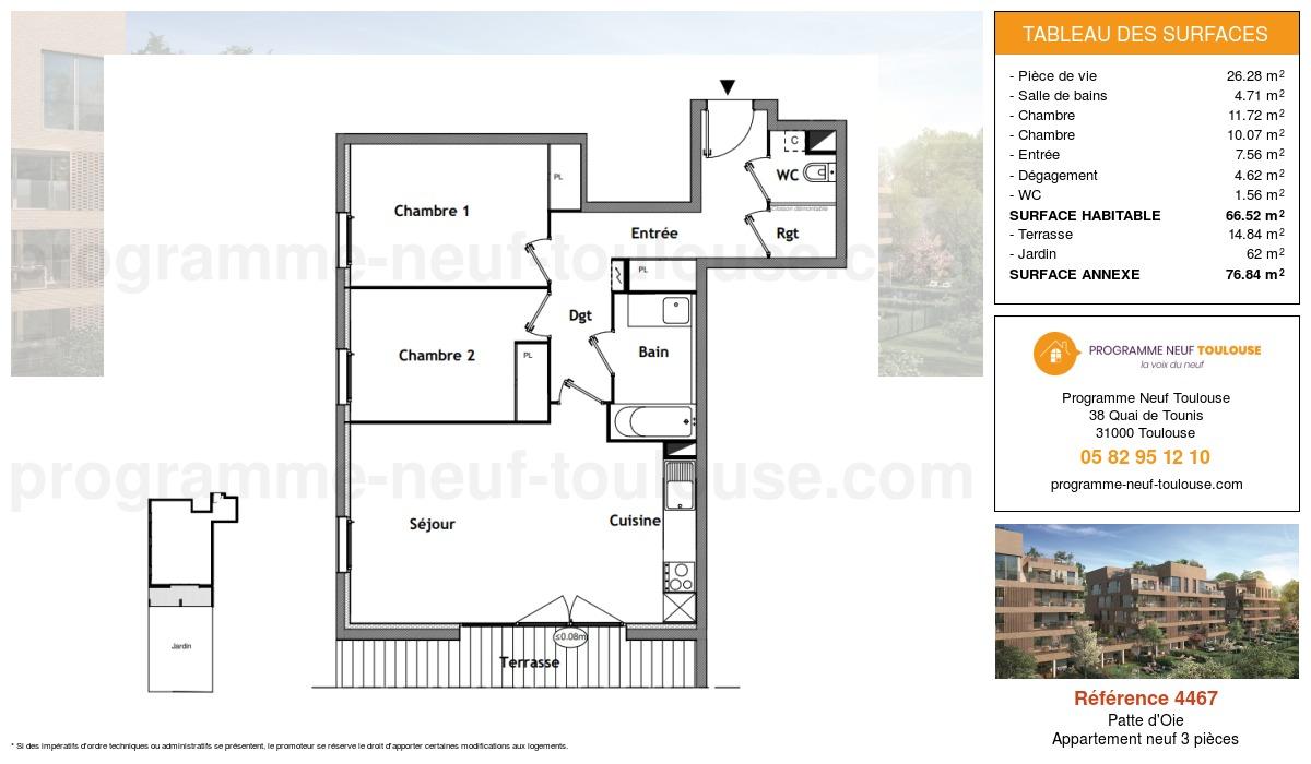Plan pour un Appartement neuf de  66.52m² à Patte d'Oie
