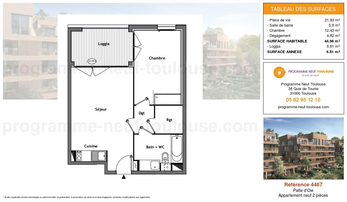 Plan pour un Appartement neuf de  44.98m² à Patte d'Oie