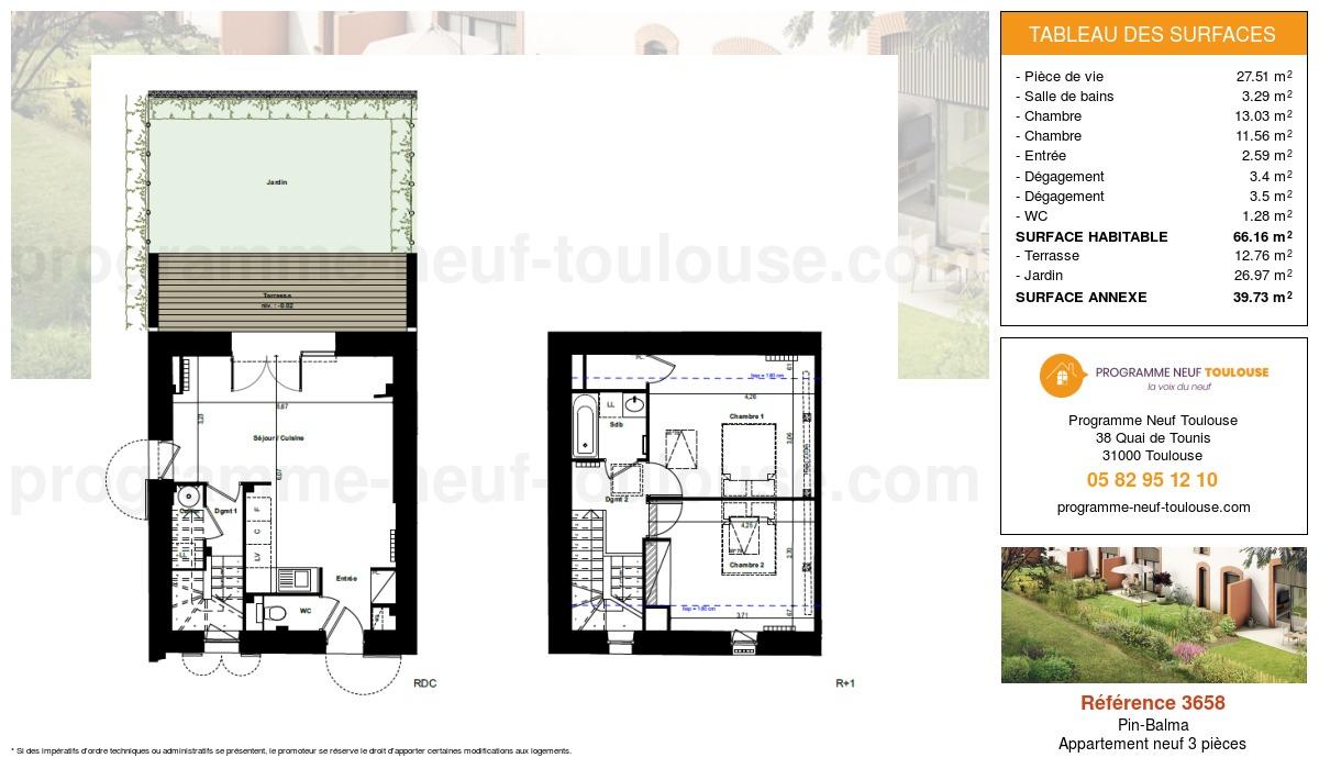 Plan pour un Appartement neuf de  66.16m² à Pin-Balma