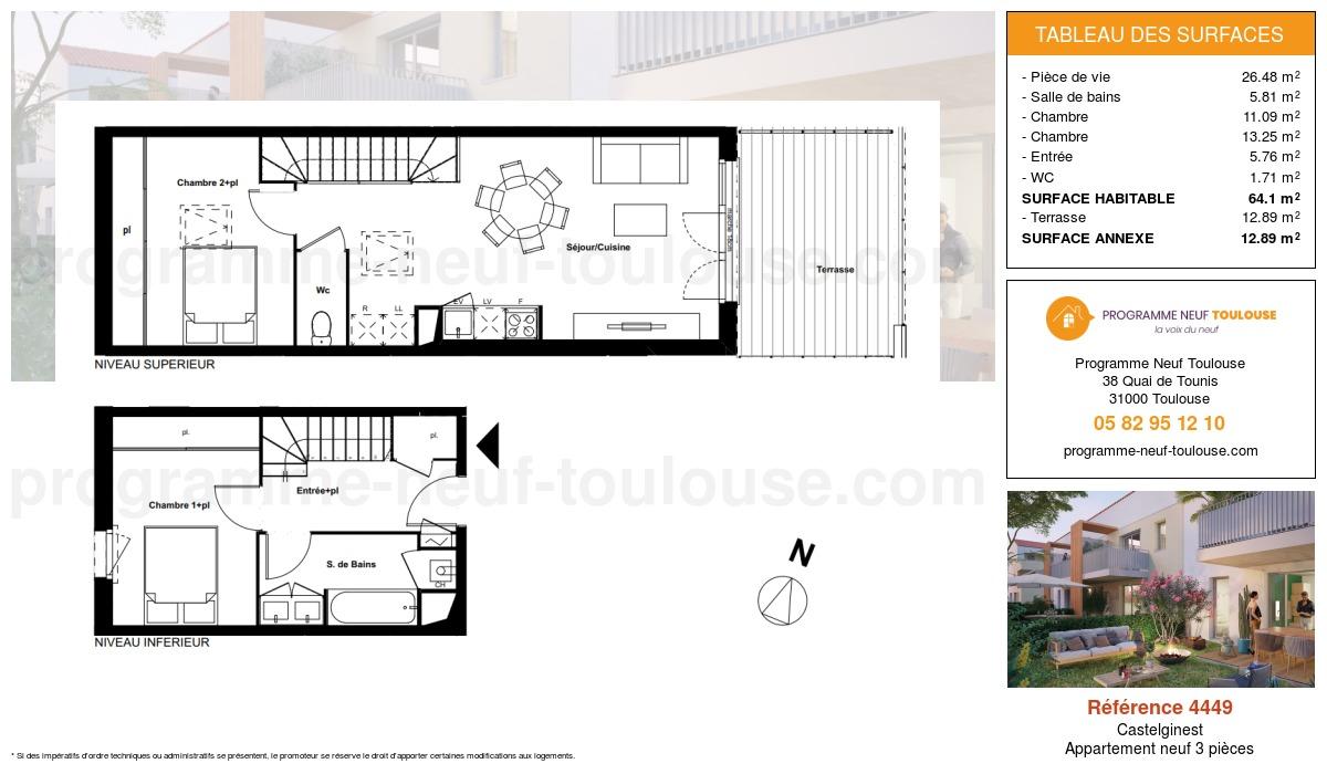 Plan pour un Appartement neuf de  64.1m² à Castelginest