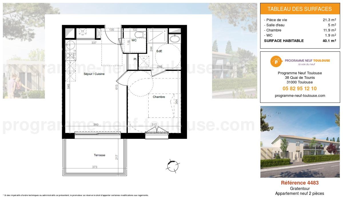 Plan pour un Appartement neuf de  40.1m² à Gratentour