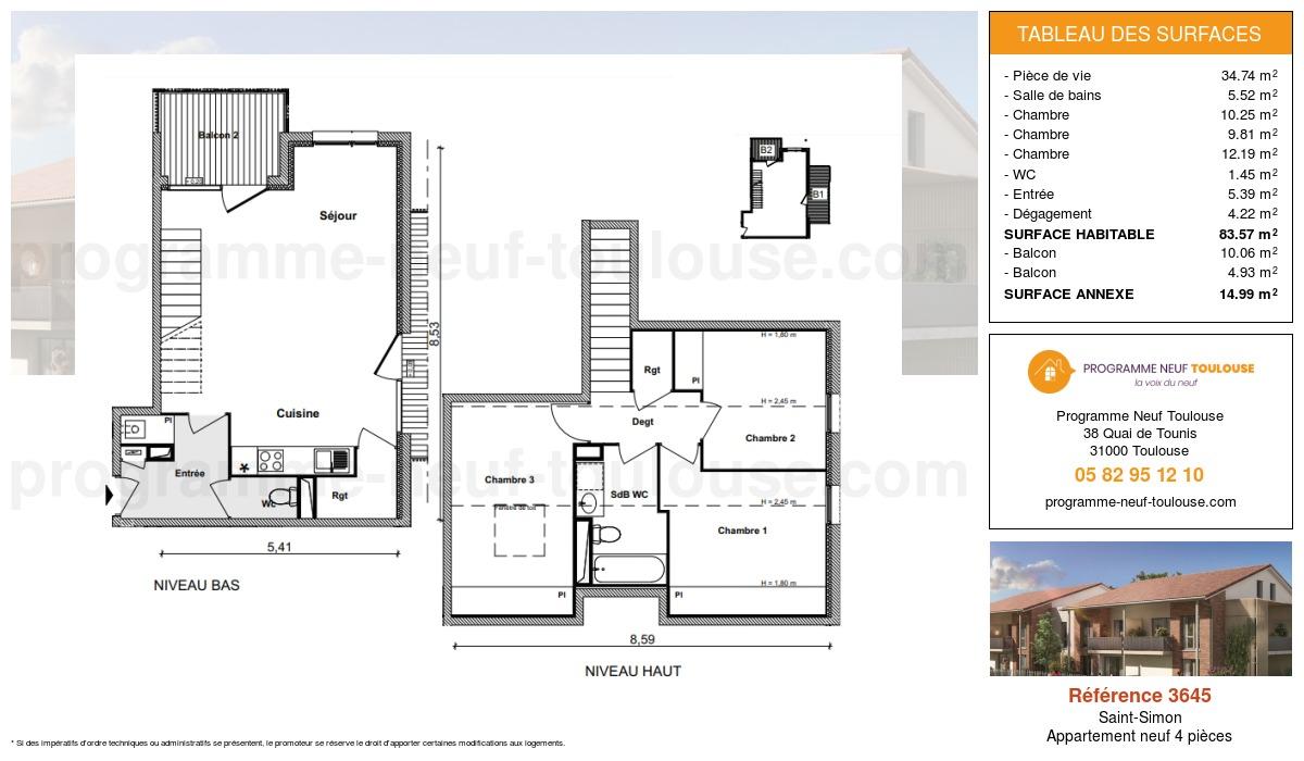 Plan pour un Appartement neuf de  83.57m² à Saint-Simon