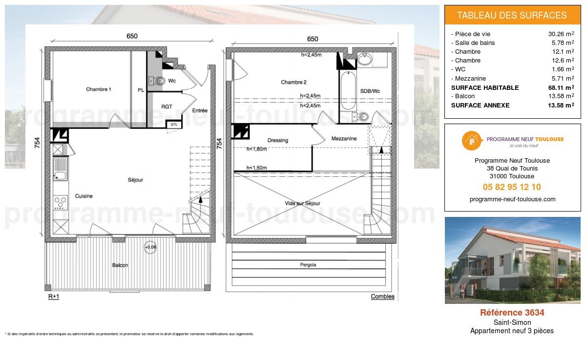 Plan pour un Appartement neuf de  68.11m² à Saint-Simon
