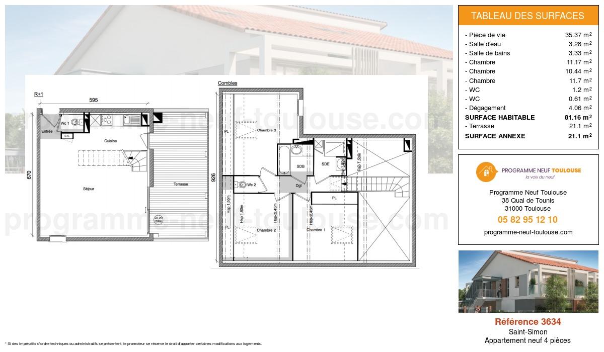 Plan pour un Appartement neuf de  81.16m² à Saint-Simon