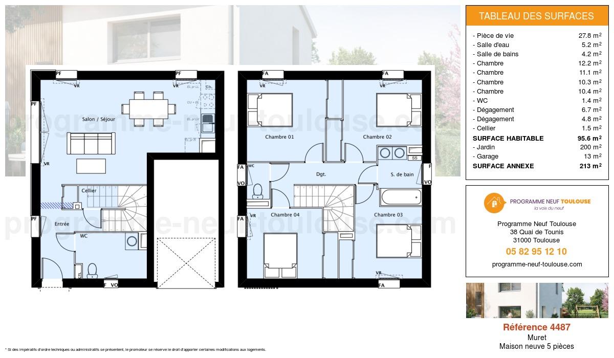 Plan pour un Maison neuve de  95.6m² à Muret