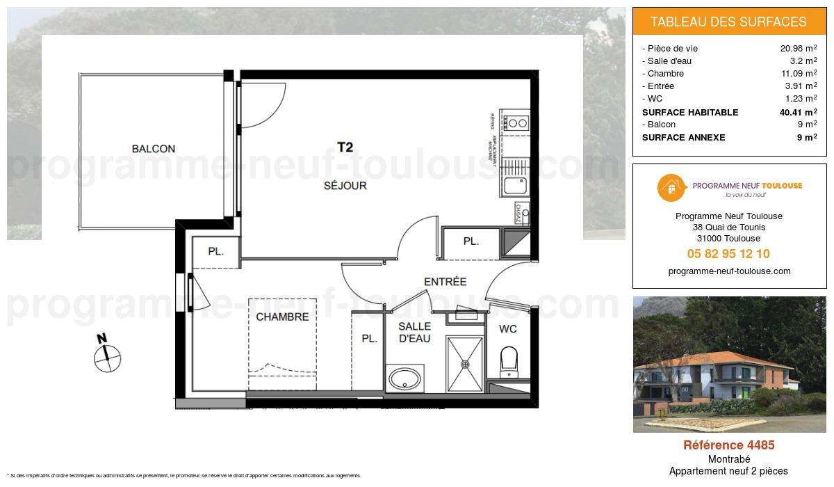 Plan pour un Appartement neuf de  40.41m² à Montrabé