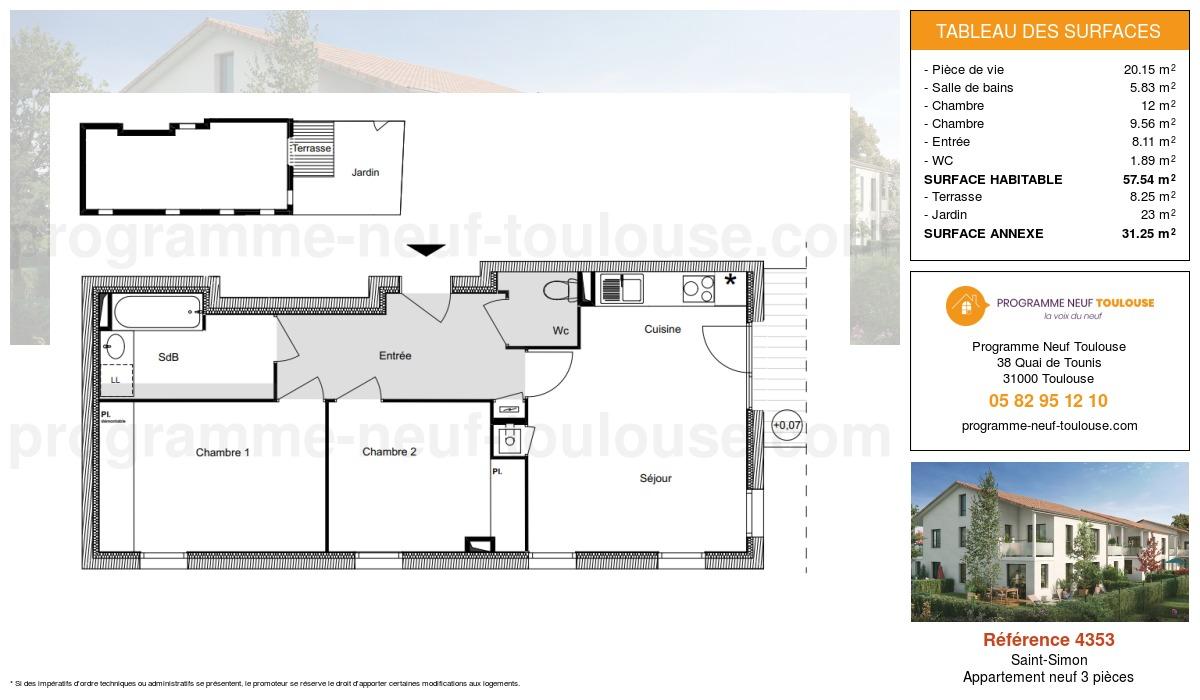Plan pour un Appartement neuf de  57.54m² à Saint-Simon
