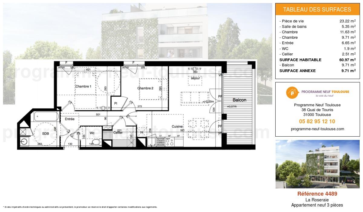 Plan pour un Appartement neuf de  60.97m² à La Roseraie
