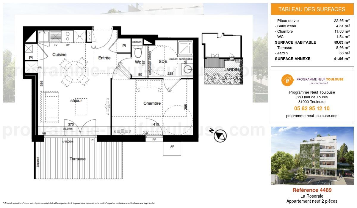 Plan pour un Appartement neuf de  40.63m² à La Roseraie