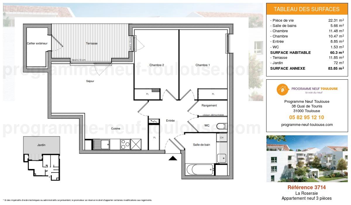 Plan pour un Appartement neuf de  60.3m² à La Roseraie