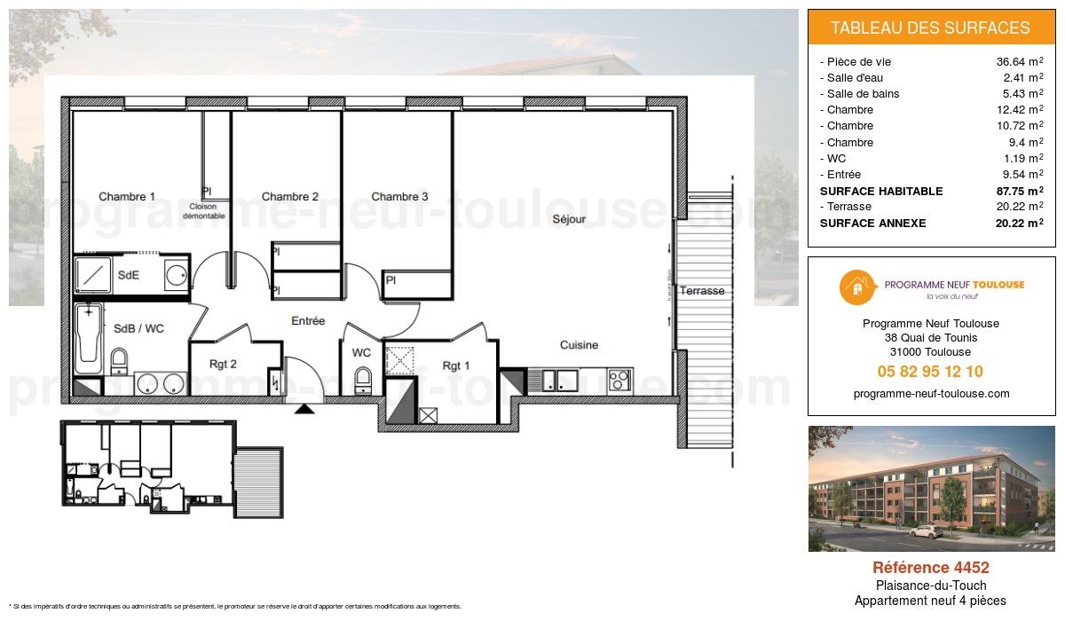 Plan pour un Appartement neuf de  87.75m² à Plaisance-du-Touch