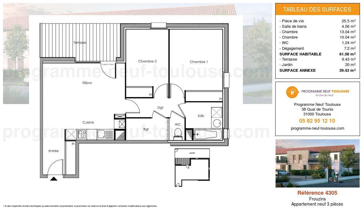 Plan pour un Appartement neuf de  61.58m² à Frouzins