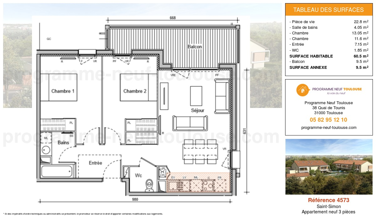 Plan pour un Appartement neuf de  60.5m² à Saint-Simon