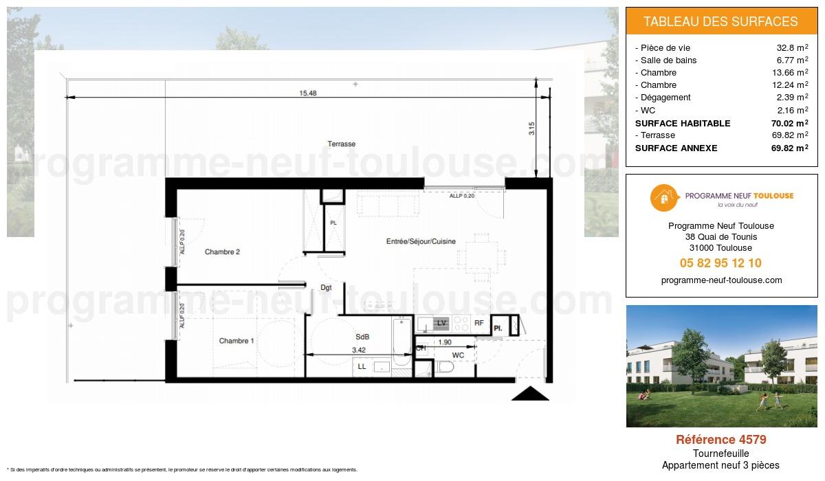 Plan pour un Appartement neuf de  70.02m² à Tournefeuille