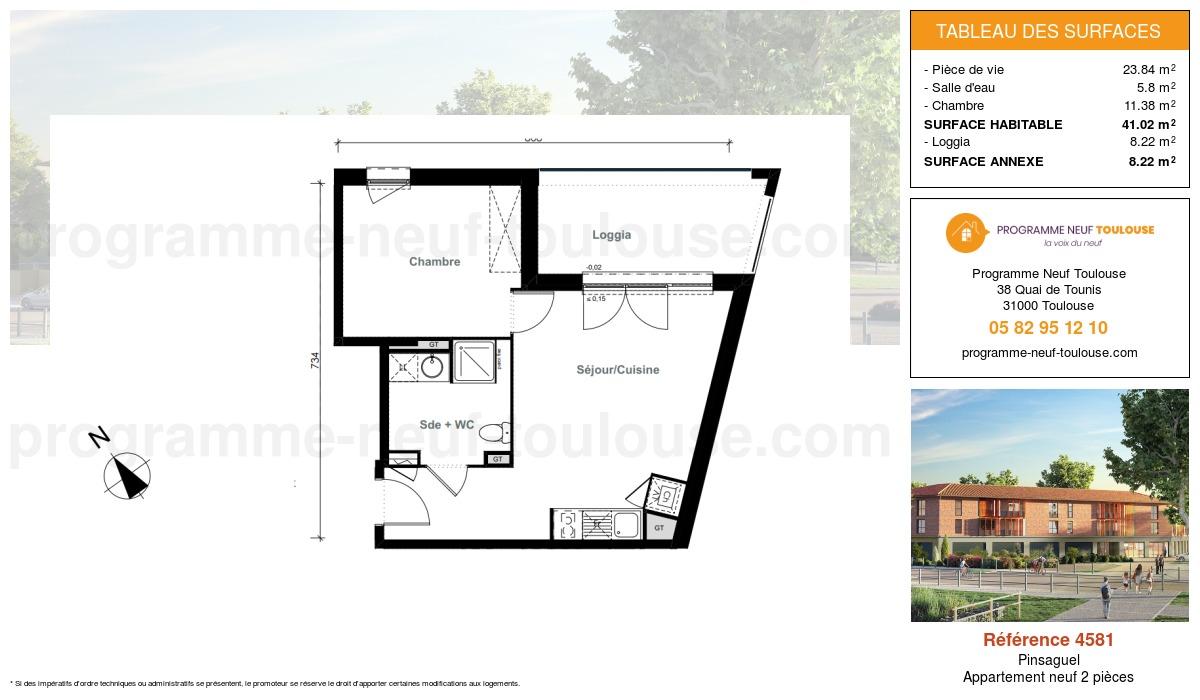 Plan pour un Appartement neuf de  41.02m² à Pinsaguel