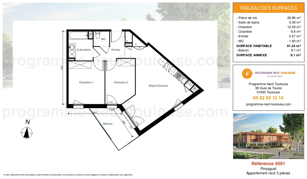 Plan pour un Appartement neuf de  61.24m² à Pinsaguel