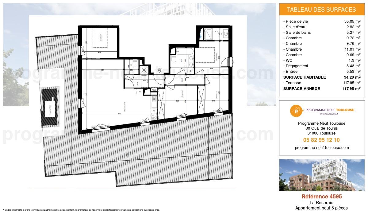 Plan pour un Appartement neuf de  94.29m² à La Roseraie