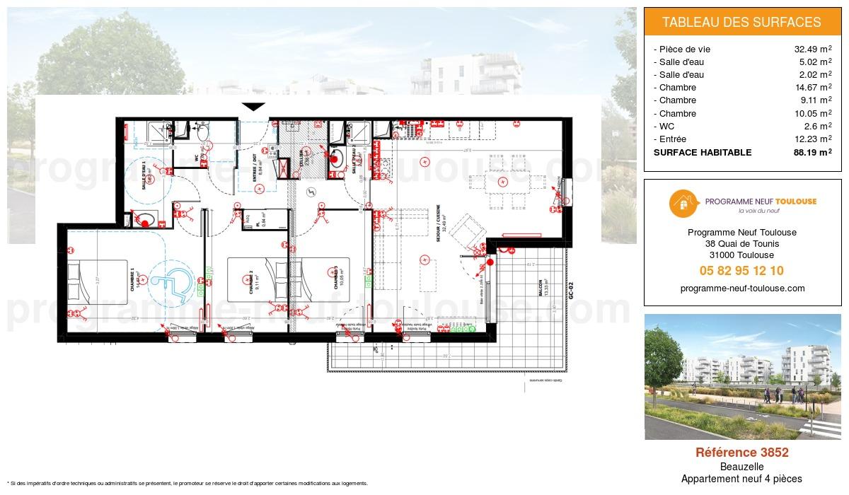 Plan pour un Appartement neuf de  88.19m² à Beauzelle