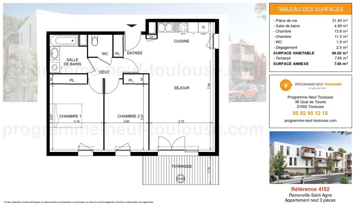 Plan pour un Appartement neuf de  66.02m² à Ramonville-Saint-Agne