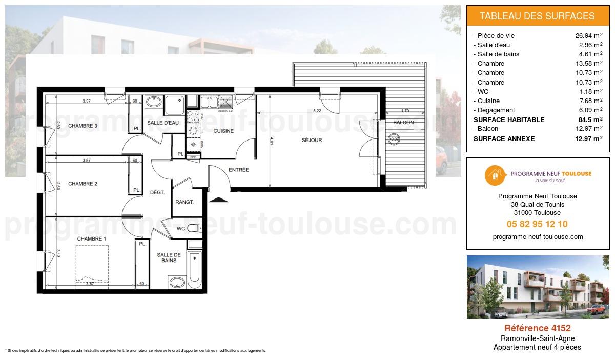 Plan pour un Appartement neuf de  84.5m² à Ramonville-Saint-Agne