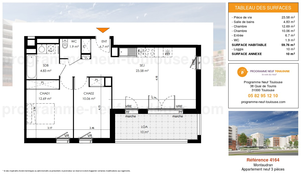 Plan pour un Appartement neuf de  59.75m² à Montaudran