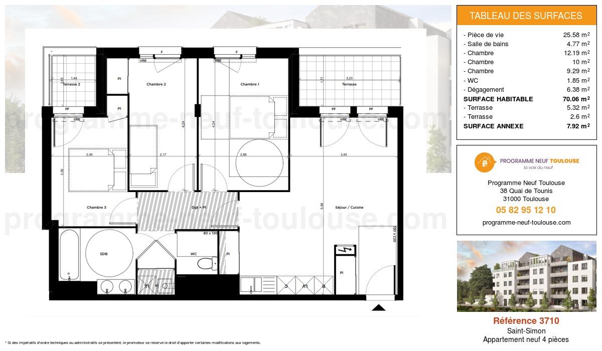 Plan pour un Appartement neuf de  70.06m² à Saint-Simon