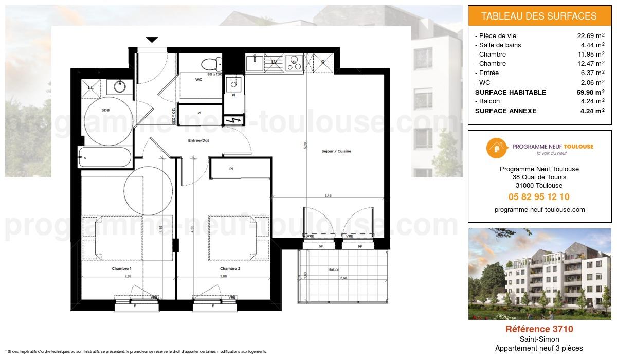 Plan pour un Appartement neuf de  59.98m² à Saint-Simon