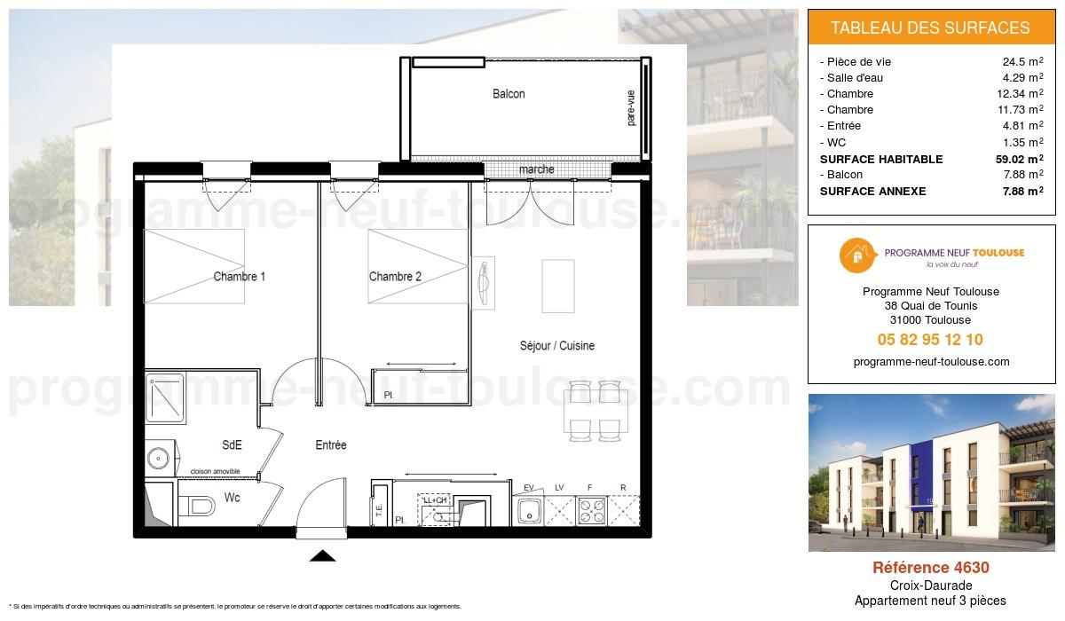 Plan pour un Appartement neuf de  59.02m² à Croix-Daurade