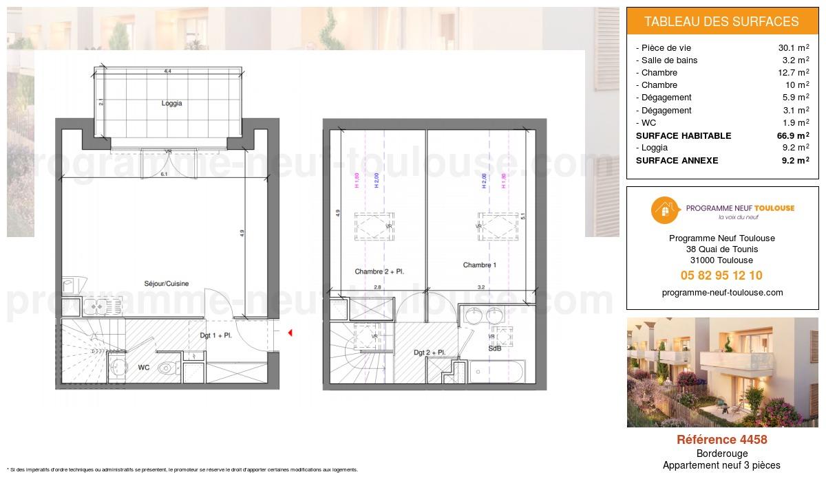 Plan pour un Appartement neuf de  66.8m² à Borderouge