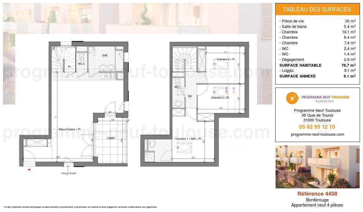 Plan pour un Appartement neuf de  78.7m² à Borderouge