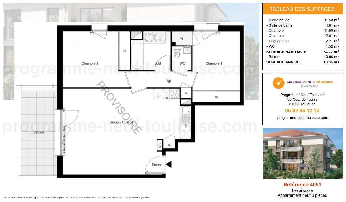 Plan pour un Appartement neuf de  64.77m² à Lespinasse