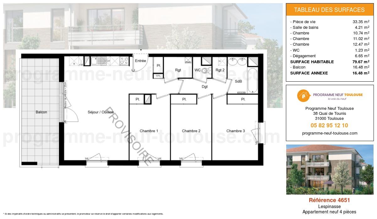 Plan pour un Appartement neuf de  79.67m² à Lespinasse