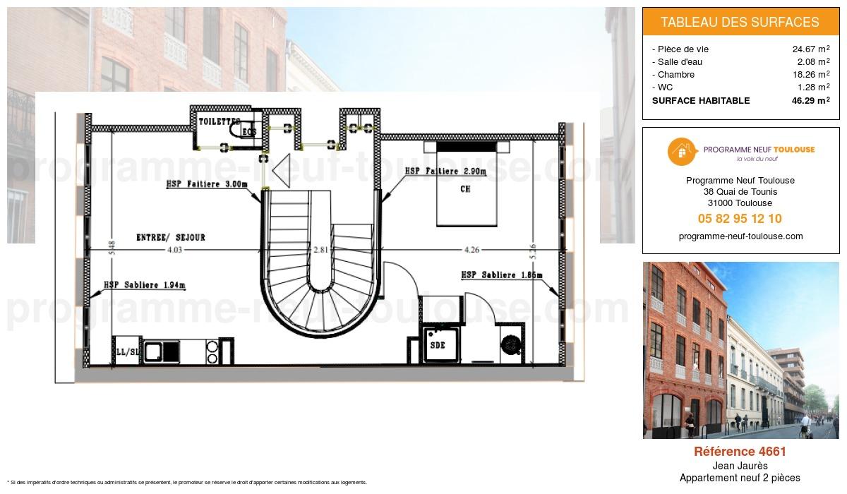 Plan pour un Appartement neuf de  46.29m² à Jean Jaurès