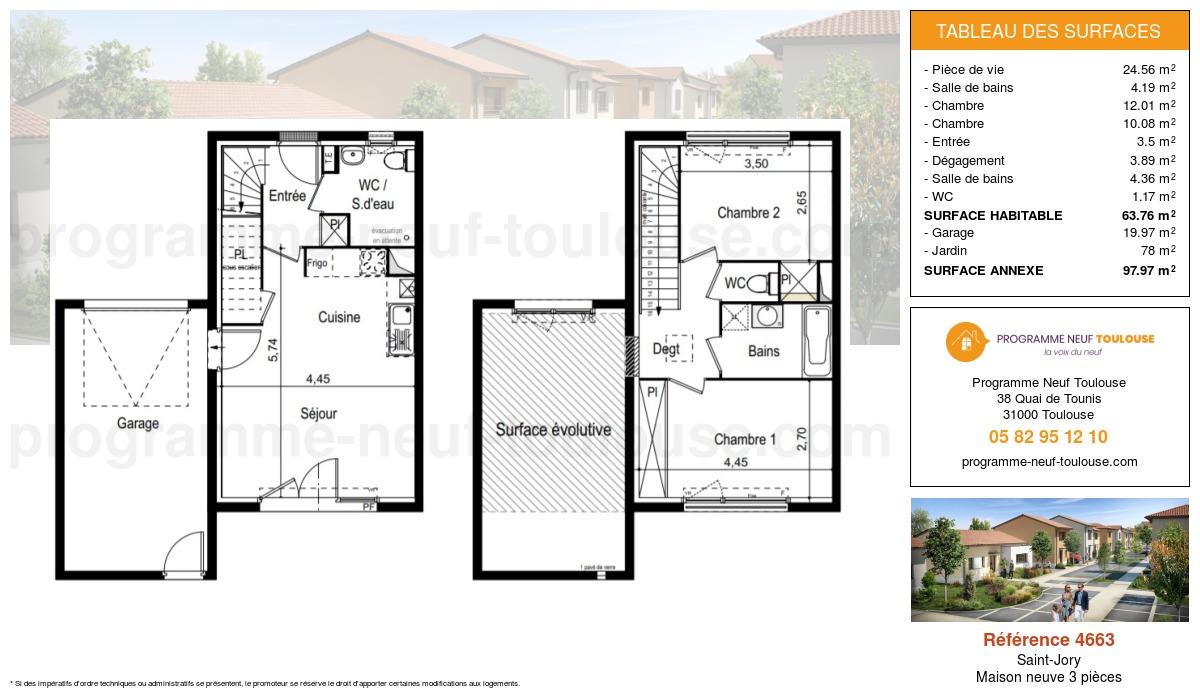 Plan pour un Maison neuve de  63.76m² à Saint-Jory