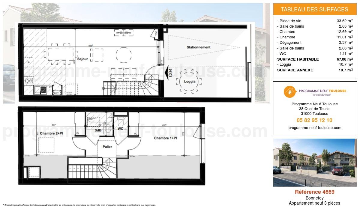 Plan pour un Appartement neuf de  67.06m² à Bonnefoy