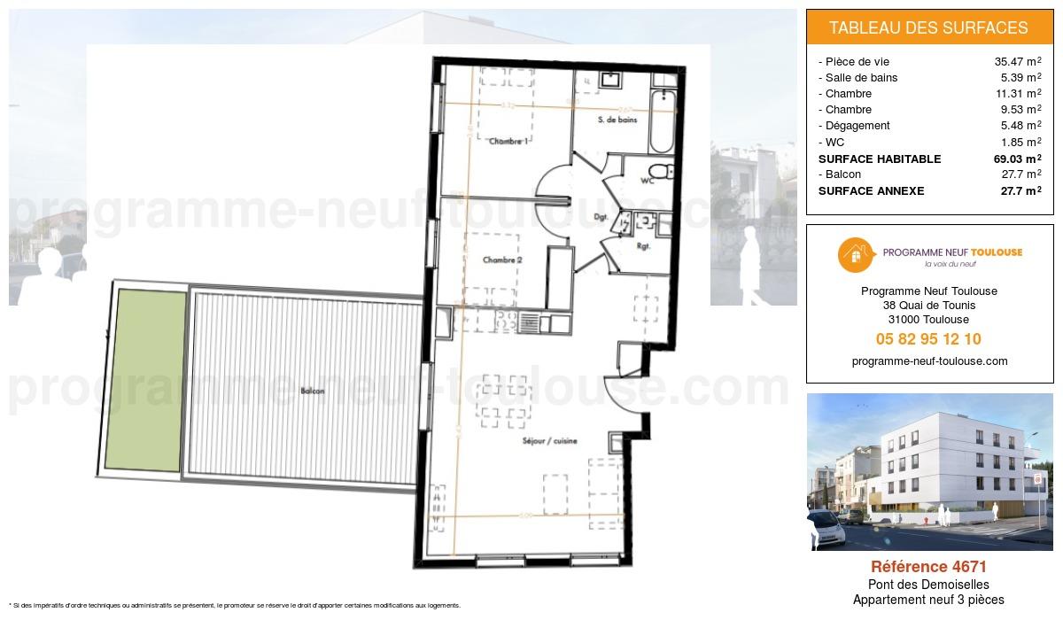 Plan pour un Appartement neuf de  69.03m² à Pont des Demoiselles