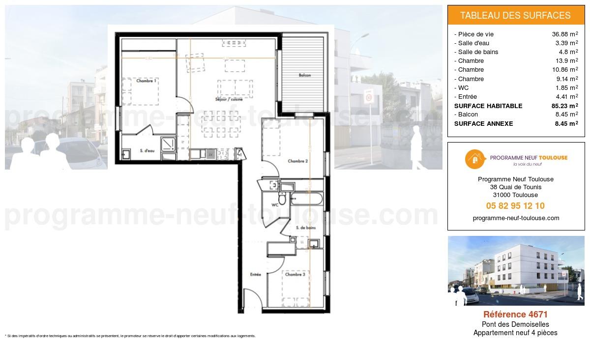 Plan pour un Appartement neuf de  85.23m² à Pont des Demoiselles